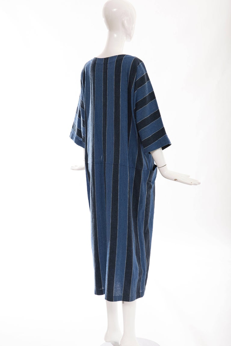 Issey Miyake Plantation Blue Striped Woven Cotton Dress, Circa 1980's For Sale 2