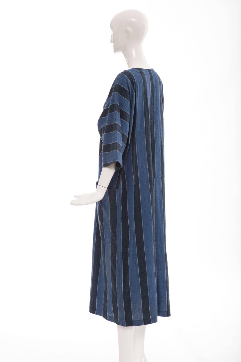 Issey Miyake Plantation Blue Striped Woven Cotton Dress, Circa 1980's For Sale 4