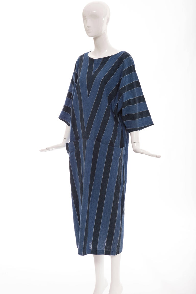 Issey Miyake Plantation Blue Striped Woven Cotton Dress, Circa 1980's For Sale 3