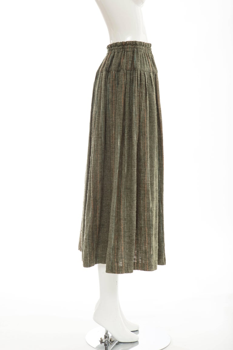 Women's Issey Miyake Plantation Olive Green Woven Cotton Skirt, Circa 1980's For Sale