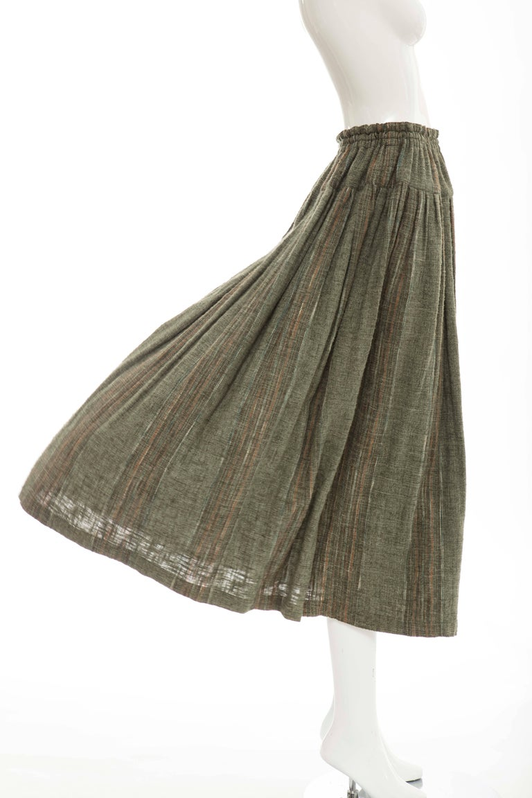 Gray Issey Miyake Plantation Olive Green Woven Cotton Skirt, Circa 1980's For Sale
