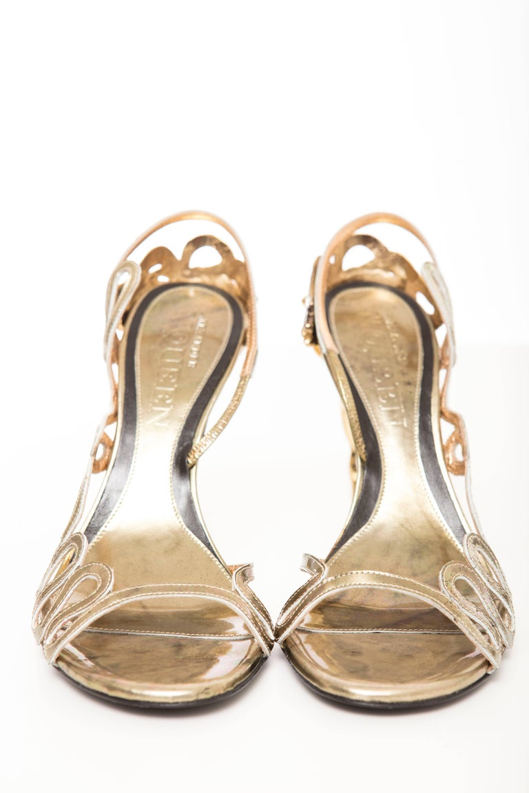 Alexander McQueen Angels & Demons Gold Leather Slingback Sandals, Fall 2010 For Sale 1