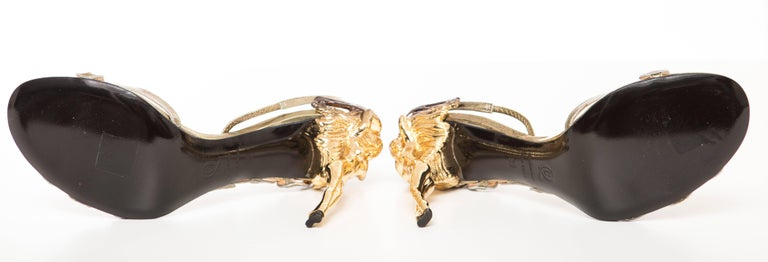 Alexander McQueen Angels & Demons Gold Leather Slingback Sandals, Fall 2010 For Sale 3