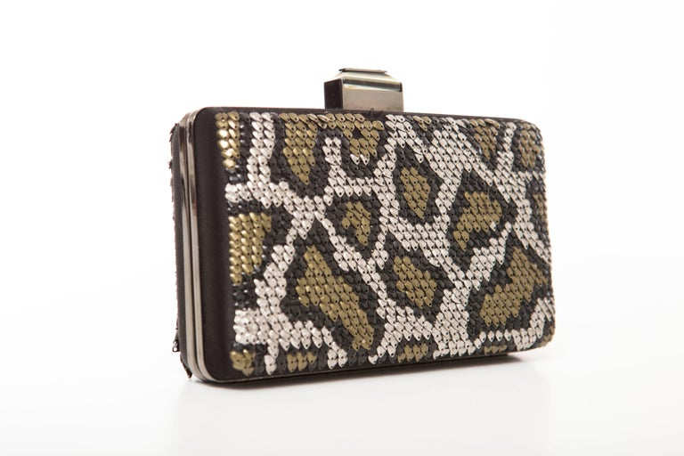 Alber Elbaz Lanvin black silk satin minaudière with gunmetal hardware, single drop-in snake-chain shoulder straps, gold, black and silver sequin embellished throughout exterior walls in leopard pattern, black satin interior lining and push-lock
