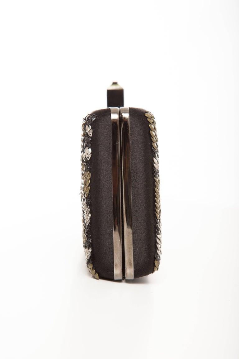 Women's Alber Elbaz Lanvin Black Silk Satin Sequins In Leopard Pattern Minaudière  For Sale