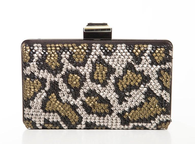 Alber Elbaz Lanvin Black Silk Satin Sequins In Leopard Pattern Minaudière  For Sale 1