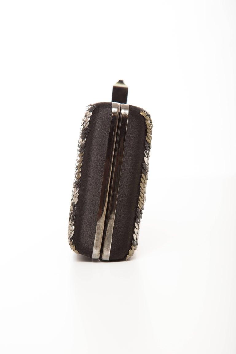 Alber Elbaz Lanvin Black Silk Satin Sequins In Leopard Pattern Minaudière  For Sale 2
