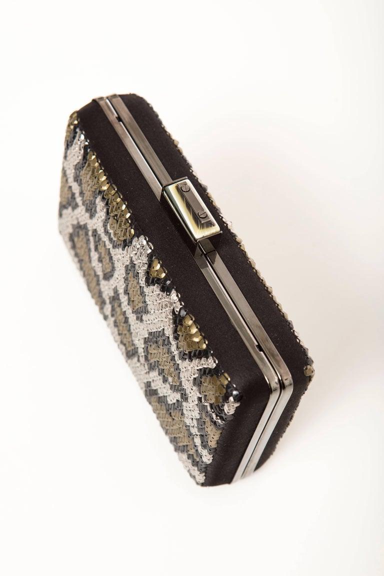 Alber Elbaz Lanvin Black Silk Satin Sequins In Leopard Pattern Minaudière  For Sale 3