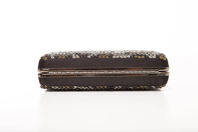 Alber Elbaz Lanvin Black Silk Satin Sequins In Leopard Pattern Minaudière  For Sale 4