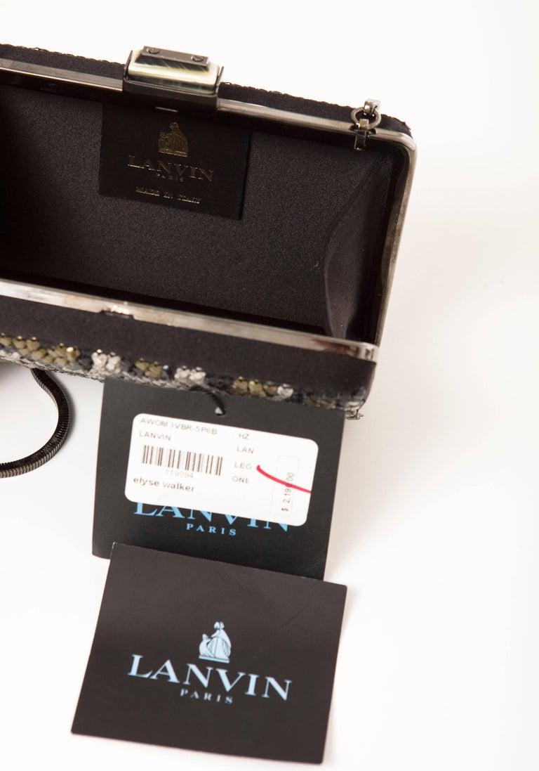 Alber Elbaz Lanvin Black Silk Satin Sequins In Leopard Pattern Minaudière  For Sale 5