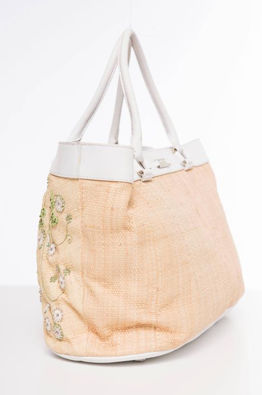 Women's Lambertson Truex Embroidered Raffia Handbag With White Leather Trim For Sale