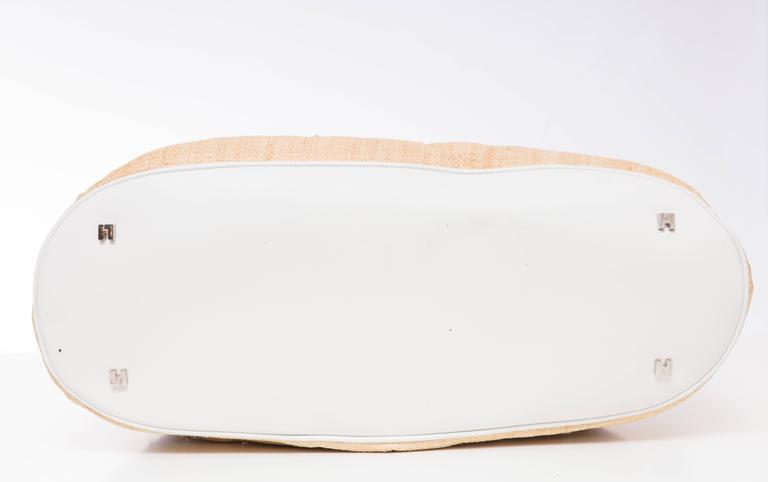 Lambertson Truex Embroidered Raffia Handbag With White Leather Trim For Sale 1