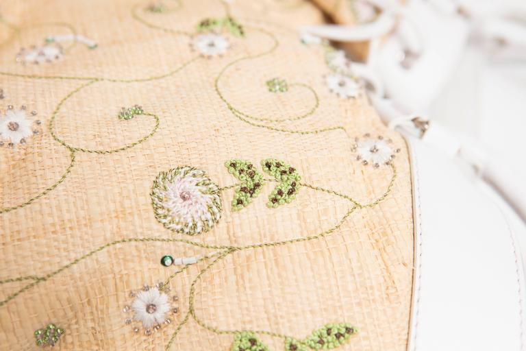 Lambertson Truex Embroidered Raffia Handbag With White Leather Trim For Sale 2