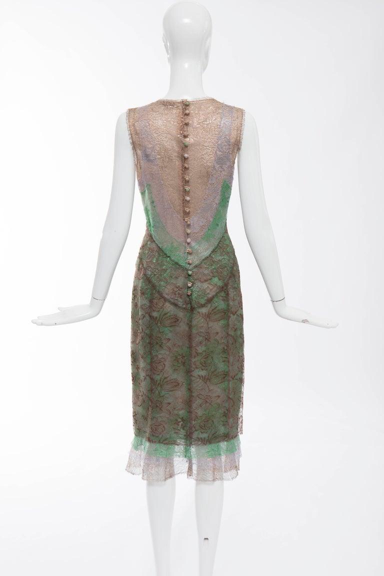 Gray Zac Posen Sleeveless Layered Metallic Lace Evening Dress, Fall 2004 For Sale