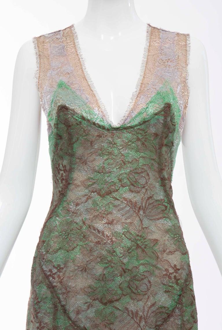 Women's Zac Posen Sleeveless Layered Metallic Lace Evening Dress, Fall 2004 For Sale