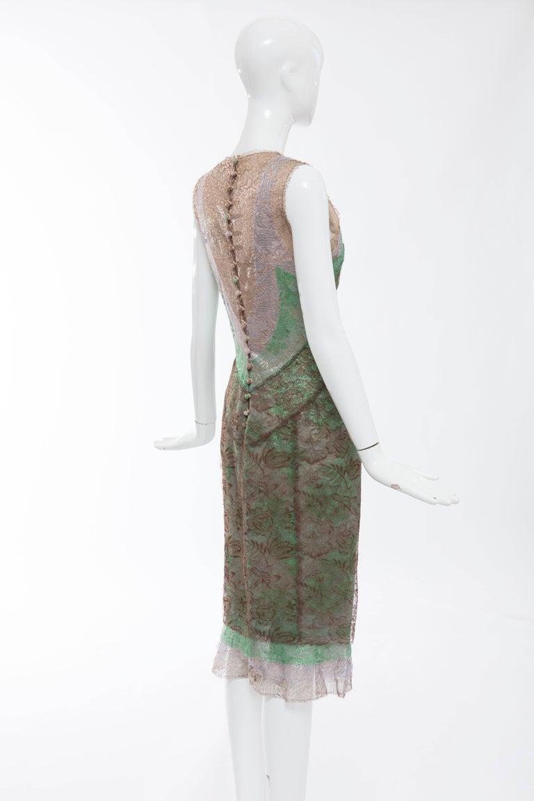 Zac Posen Sleeveless Layered Metallic Lace Evening Dress, Fall 2004 For Sale 1