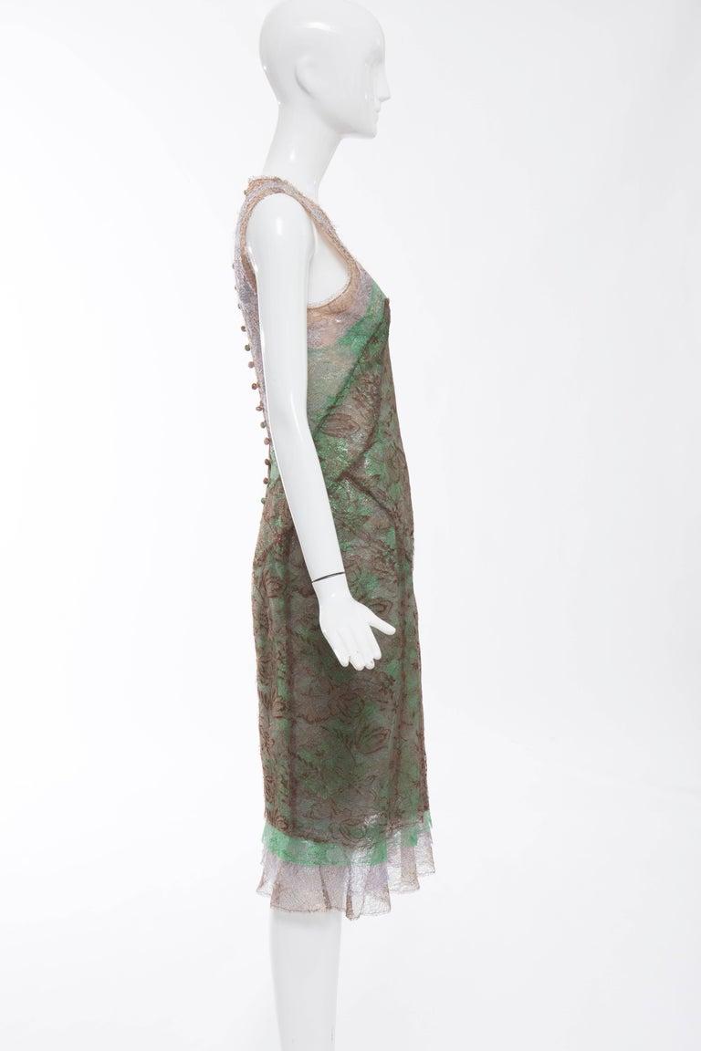Zac Posen Sleeveless Layered Metallic Lace Evening Dress, Fall 2004 For Sale 2