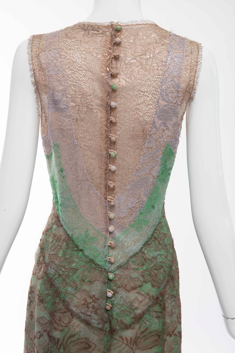 Zac Posen Sleeveless Layered Metallic Lace Evening Dress, Fall 2004 For Sale 3