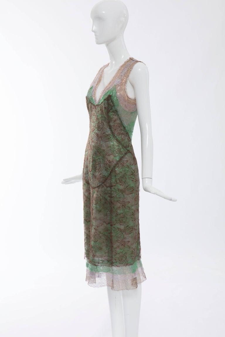 Zac Posen Sleeveless Layered Metallic Lace Evening Dress, Fall 2004 For Sale 4