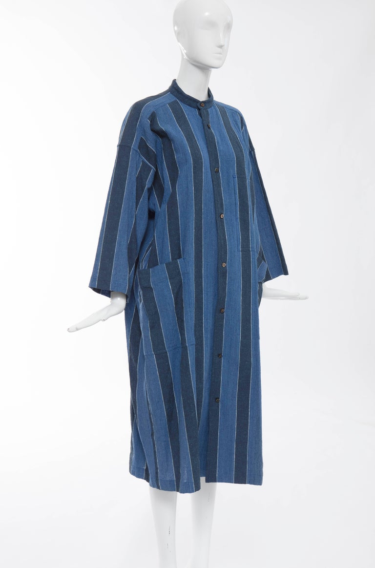 Issey Miyake Plantation Blue Striped Cotton Button Front Dress, Circa 1980's In Excellent Condition For Sale In Cincinnati, OH