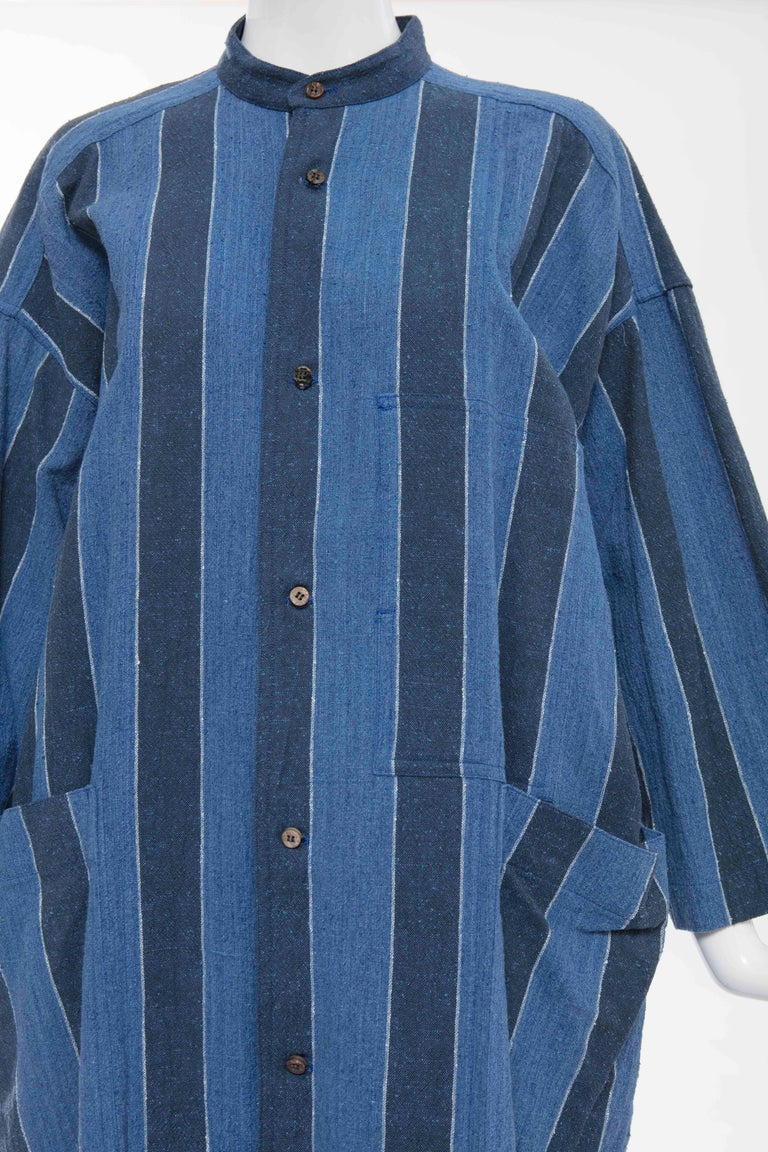 Women's Issey Miyake Plantation Blue Striped Cotton Button Front Dress, Circa 1980's For Sale