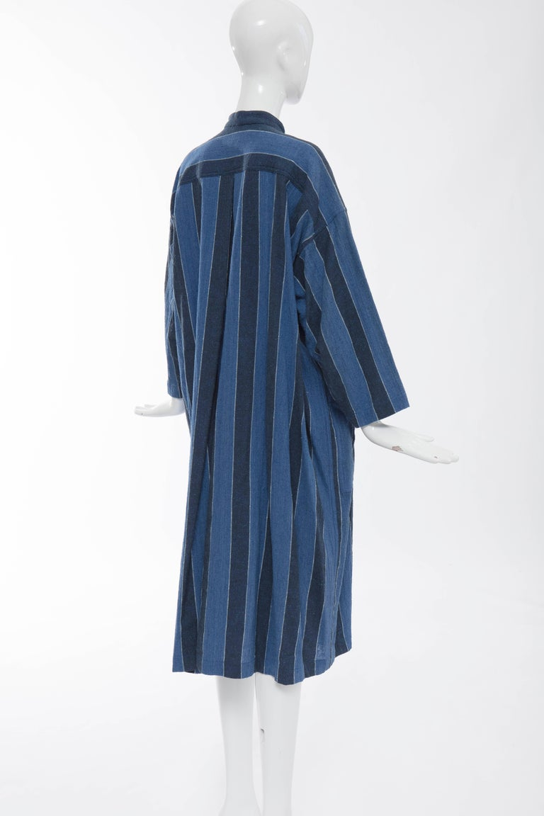 Issey Miyake Plantation Blue Striped Cotton Button Front Dress, Circa 1980's For Sale 1