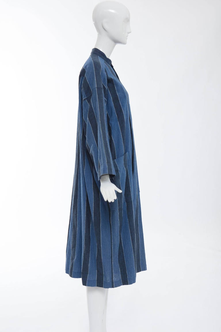 Issey Miyake Plantation Blue Striped Cotton Button Front Dress, Circa 1980's For Sale 2