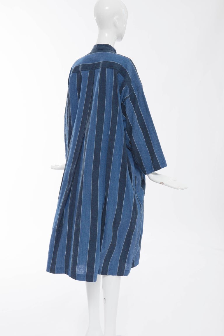 Issey Miyake Plantation Blue Striped Cotton Button Front Dress, Circa 1980's For Sale 3