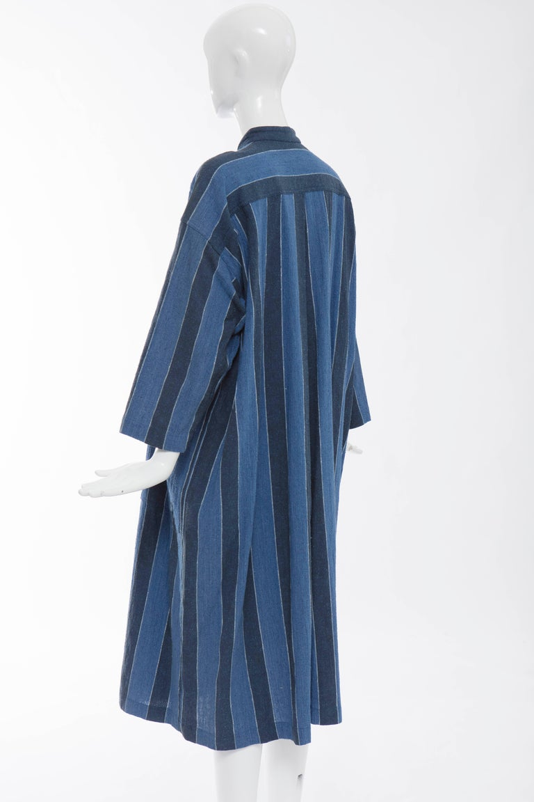 Issey Miyake Plantation Blue Striped Cotton Button Front Dress, Circa 1980's For Sale 4