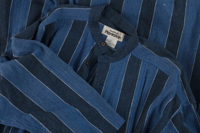Issey Miyake Plantation Blue Striped Cotton Button Front Dress, Circa 1980's For Sale 5