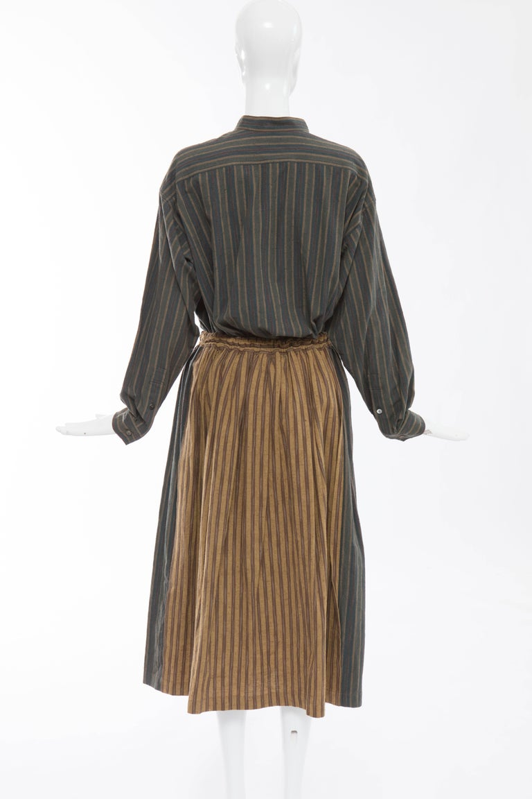Brown Issey Miyake Plantation Striped Woven Cotton Skirt Suit, Circa 1980's For Sale