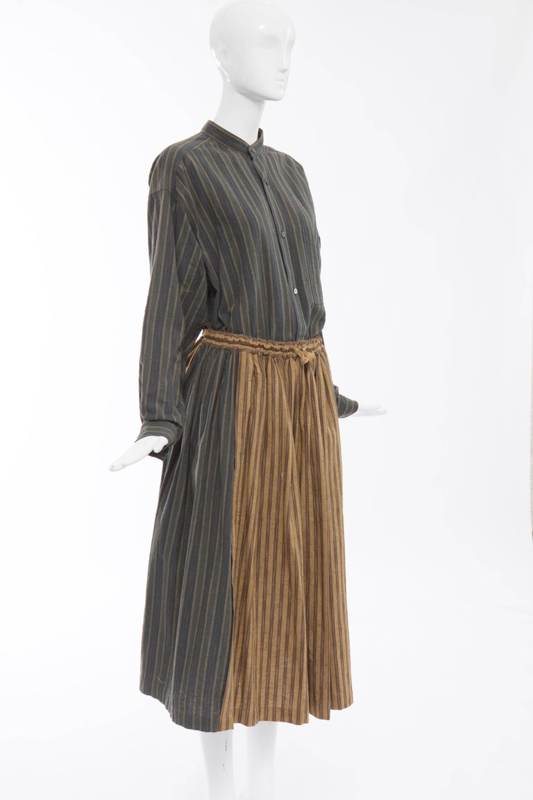 Issey Miyake Plantation Striped Woven Cotton Skirt Suit, Circa 1980's In Excellent Condition For Sale In Cincinnati, OH