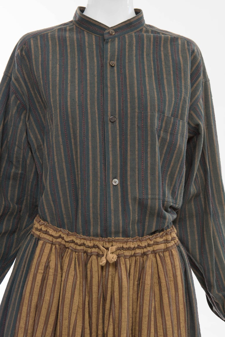 Women's Issey Miyake Plantation Striped Woven Cotton Skirt Suit, Circa 1980's For Sale