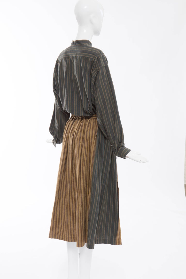 Issey Miyake Plantation Striped Woven Cotton Skirt Suit, Circa 1980's For Sale 1