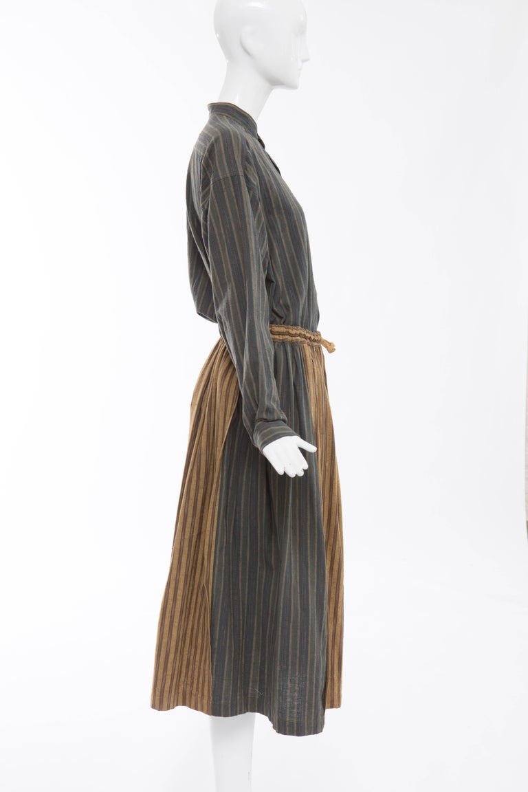 Issey Miyake Plantation Striped Woven Cotton Skirt Suit, Circa 1980's For Sale 2