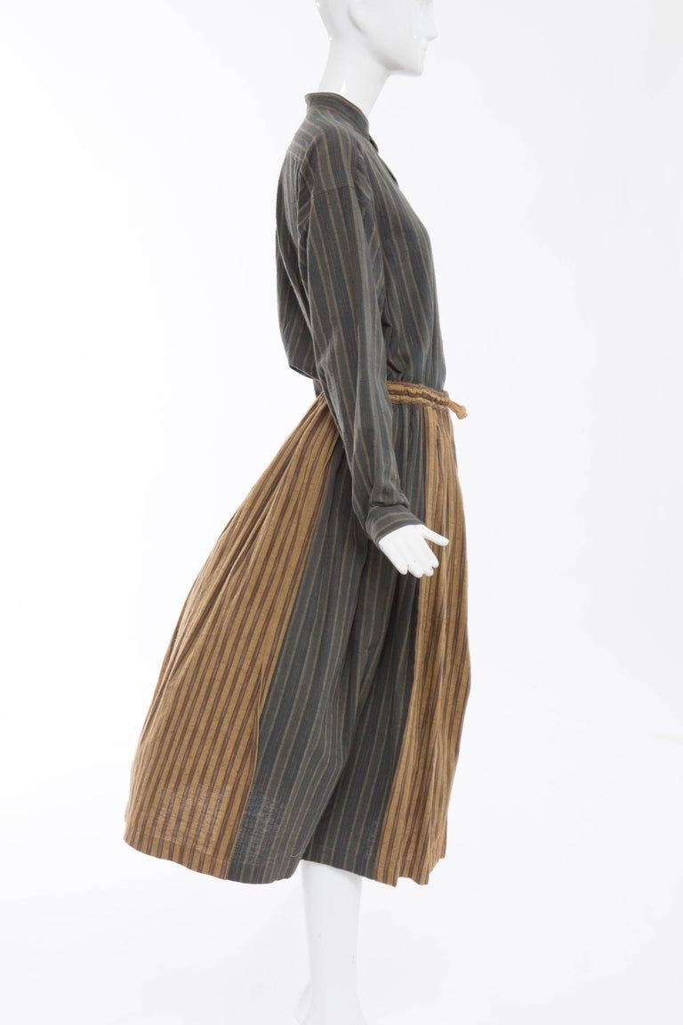 Issey Miyake Plantation Striped Woven Cotton Skirt Suit, Circa 1980's For Sale 3