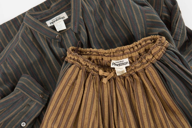 Issey Miyake Plantation Striped Woven Cotton Skirt Suit, Circa 1980's For Sale 4