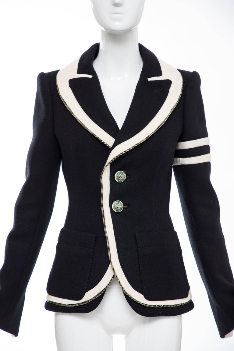 Nicolas Ghesquière for Balenciaga, Autumn-Winter 2007 black cream wool  blazer featuring shawl collar, structured shoulders, dual patch pockets, zipper trim throughout and button closures at front.  FR. 38 US. 6  Bust: 36, Waist 27, Shoulder 16,