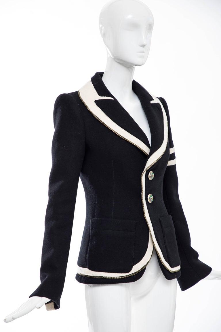 Nicolas Ghesquière for Balenciaga Runway Black Wool Blazer Zip Trim , Fall 2007 For Sale 1