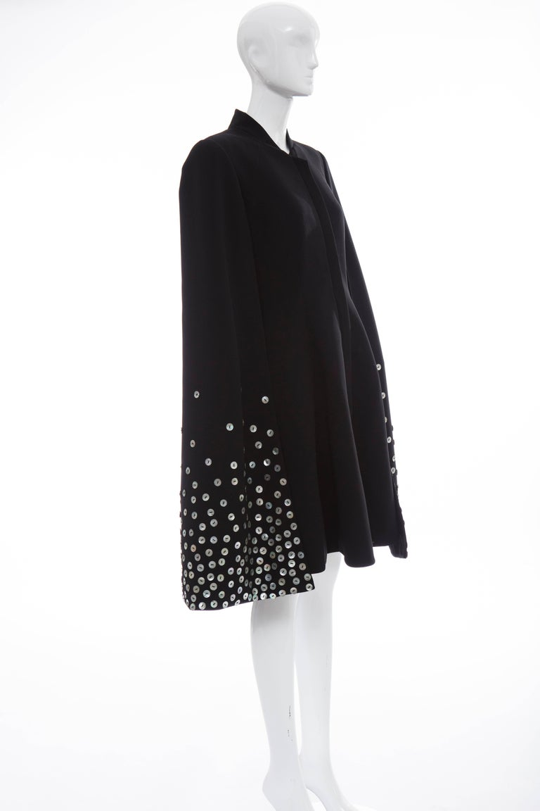 Gareth Pugh Zip Front Black Dress With Mother of Pearl Cape, Spring 2015 For Sale 1