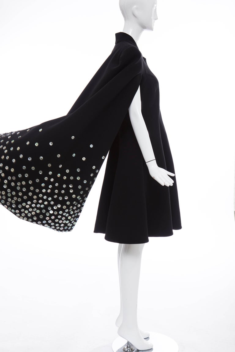 Gareth Pugh Zip Front Black Dress With Mother of Pearl Cape, Spring 2015 For Sale 4