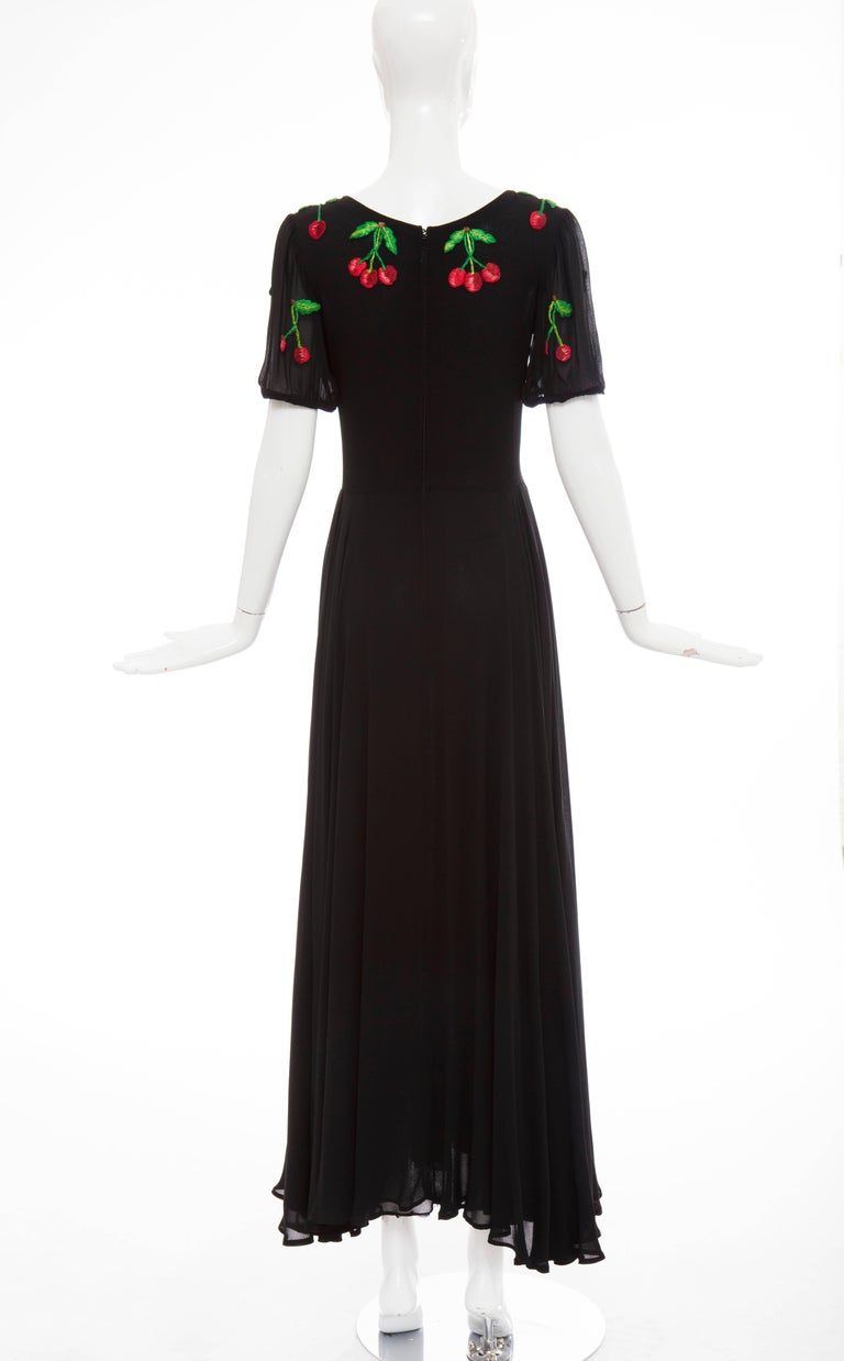 Valentino Black Crepe Evening Dress With Hand Embroidered Cherries, Circa 1970's In Good Condition For Sale In Cincinnati, OH