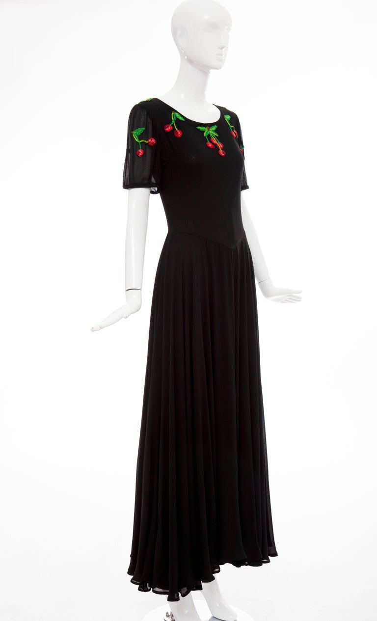 Women's Valentino Black Crepe Evening Dress With Hand Embroidered Cherries, Circa 1970's For Sale