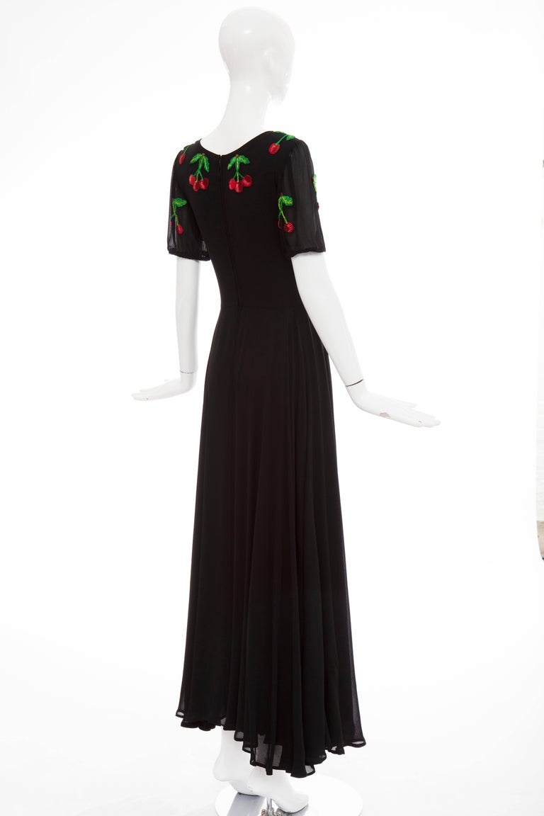 Valentino Black Crepe Evening Dress With Hand Embroidered Cherries, Circa 1970's For Sale 2