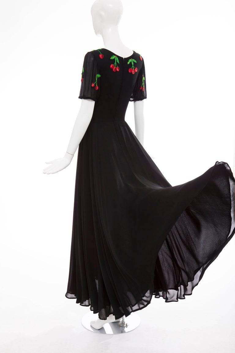 Valentino Black Crepe Evening Dress With Hand Embroidered Cherries, Circa 1970's For Sale 4