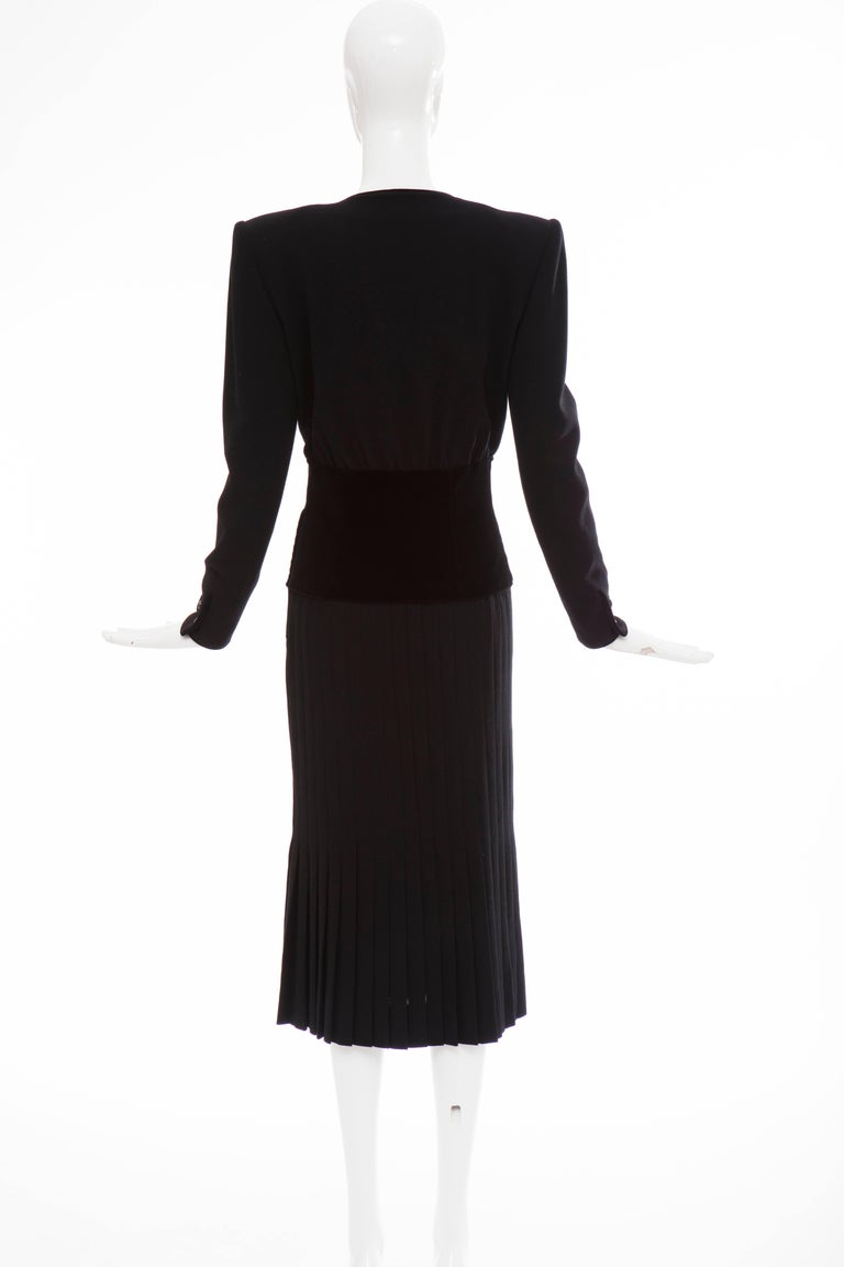 Valentino Black Wool Crepe And Velvet Evening Dress, Circa 1980's In Excellent Condition For Sale In Cincinnati, OH