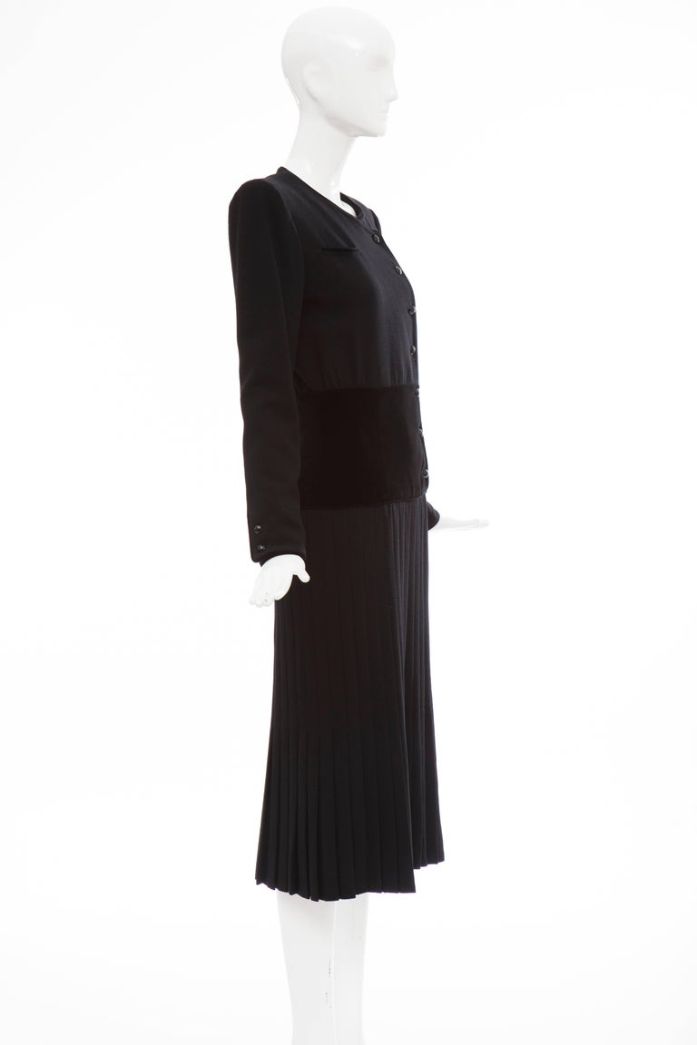 Women's Valentino Black Wool Crepe And Velvet Evening Dress, Circa 1980's For Sale