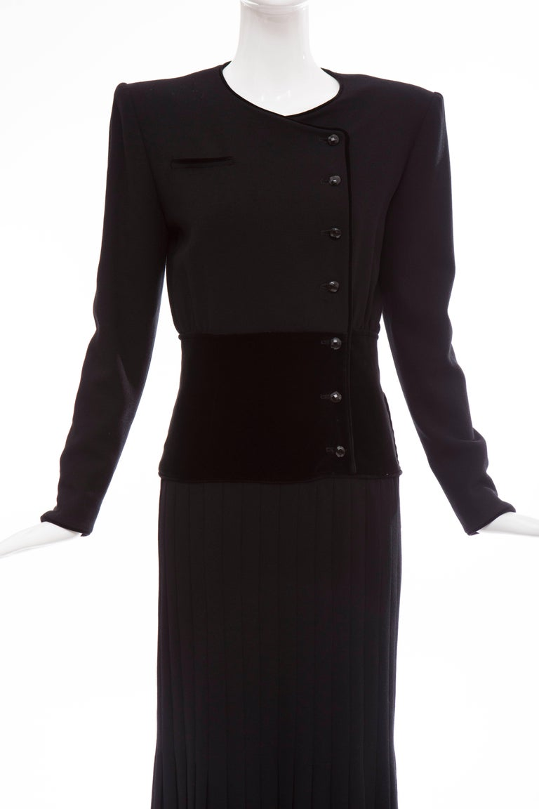Valentino Black Wool Crepe And Velvet Evening Dress, Circa 1980's For Sale 1