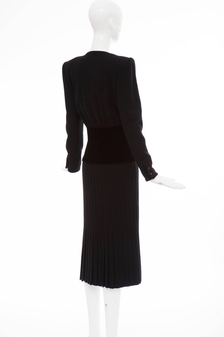 Valentino Black Wool Crepe And Velvet Evening Dress, Circa 1980's For Sale 2
