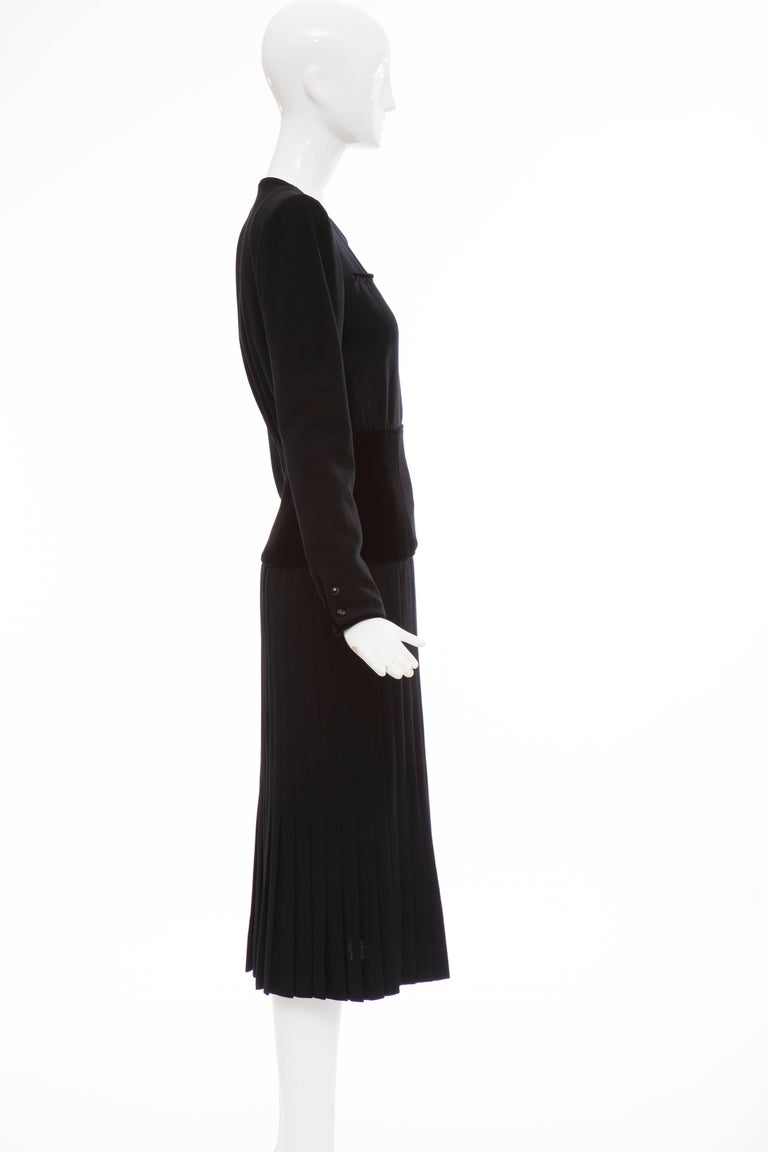 Valentino Black Wool Crepe And Velvet Evening Dress, Circa 1980's For Sale 3